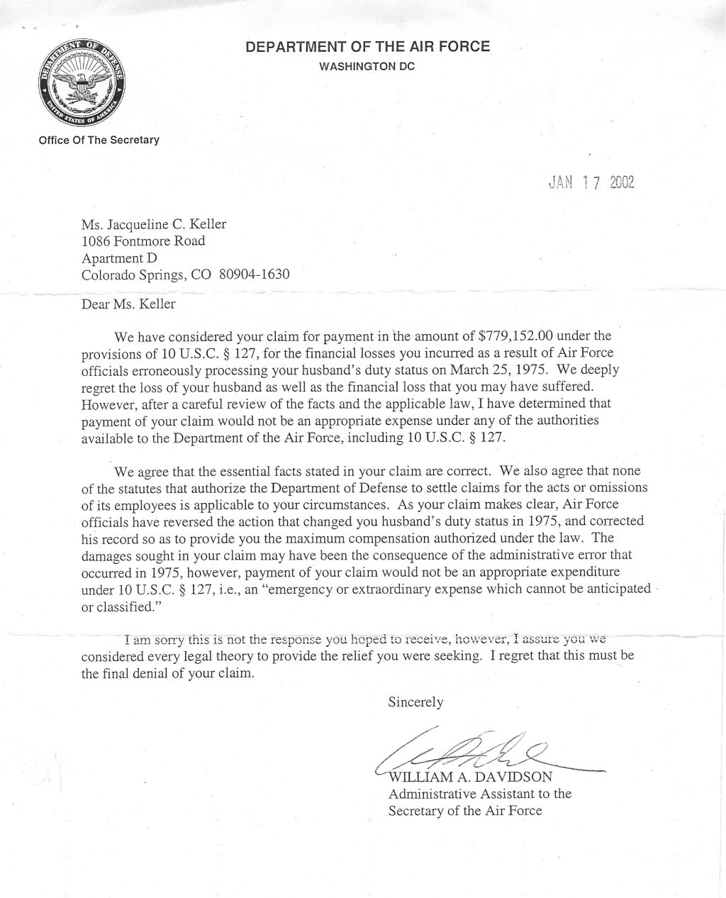 2002 first denial by department of the air force we agree that the essential facts in your claim are correct